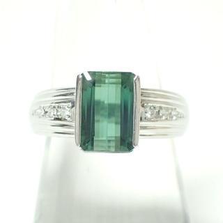 E214 Pt900 ダイヤ0.08ct 色石2.93ct 指輪 リング 10g(リング(指輪))