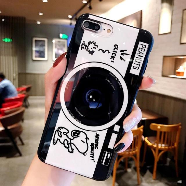iphone 7 ケース メンズ - SNOOPY - 新着★可愛い スヌーピー カメラ柄 iPhoneケース/シンプル カバーの通販 by るり's shop|スヌーピーならラクマ