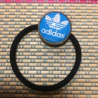 アディダス(adidas)のヘアゴム  ハンドメイド ブルー ガラスカボション(ヘアゴム/シュシュ)