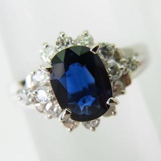 Pt850 サファイア ダイヤモンド リング 5.5号 [f464-4](リング(指輪))