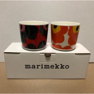 マリメッコ(marimekko)のmarimekko マリメッコ UNIKKOウニッコ 限定 ラテマグ 2色セット(グラス/カップ)