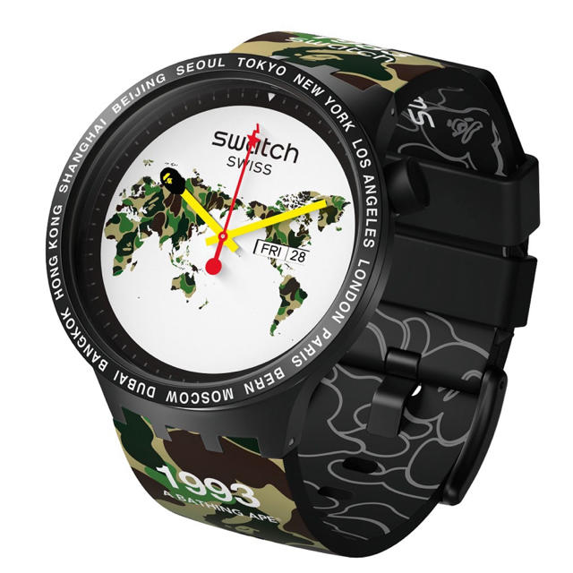 BAPE X SWATCH BIG BOLD WORLD Mの通販 by m4's shop|ラクマ