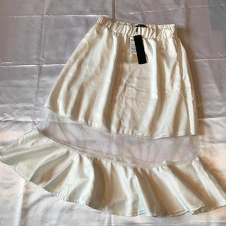 ◆新品タグ付き◆メッシュ切り替え膝丈スカート◆白(ひざ丈スカート)