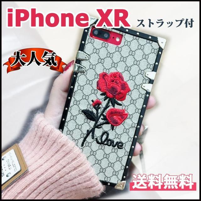 iPhone XR用 スクエアデザイン バラ 刺繍 モノグラムの通販 by ふぁいあ's shop|ラクマ