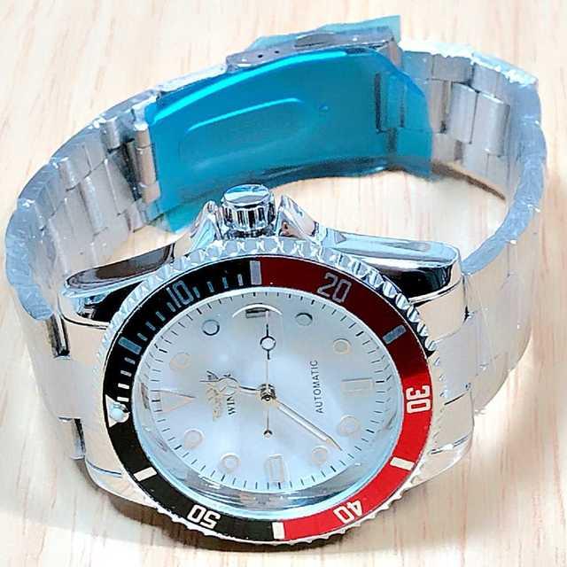 メンズ ウォッチ 自動巻 腕時計 フォーマル カジュアル 3針+カレンダー 赤黒の通販 by Mikas shop|ラクマ