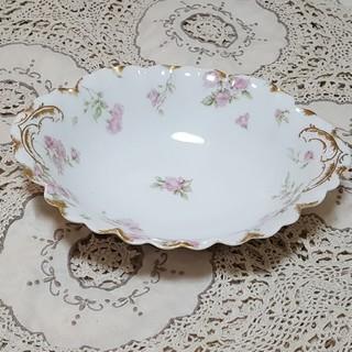 アビランド(Haviland)のアンティーク アビランド オーバル型のお皿 リモージュ ピンクの薔薇(食器)