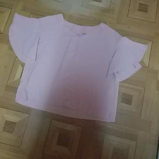 ジーユー(GU)のGU ) 袖フリルVネックブラウス(シャツ/ブラウス(半袖/袖なし))