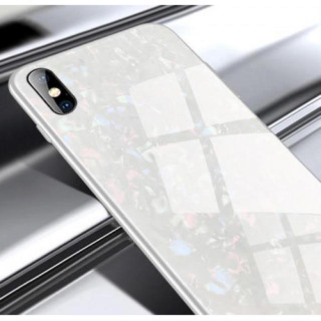 ホワイトiphone XR iphoneケース ガラスシェル キラキラ 高級感の通販 by 髭ダコさん's shop|ラクマ