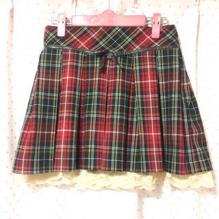 シークレットマジック(Secret Magic)のシークレットマジック リボン 裾レース チェックスカート 赤/レッド(ミニスカート)