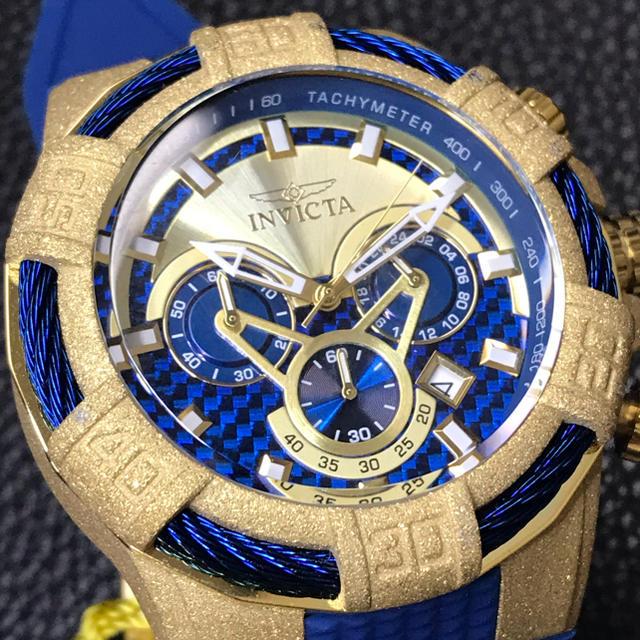 レプリカ 時計 ロレックス jfk / INVICTA - 新品Invicta Bolt インビクタ ボルト ゴールドサンドブラストxブルーの通販 by くま男's shop|インビクタならラクマ