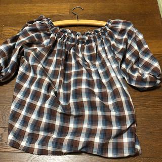 ジーユー(GU)のGU チェックブラウス Lサイズ(シャツ/ブラウス(半袖/袖なし))