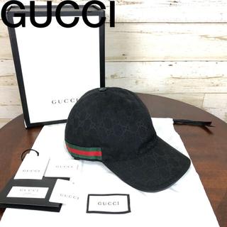 グッチ(Gucci)のGUCCI(グッチ) シェリーライン キャップ 黒 帽子 XL 60(キャップ)