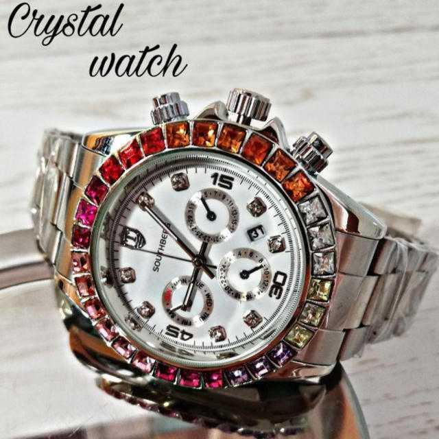 スーパーコピー 時計 ロレックス ヴィンテージ | 【海外限定ウォッチ】SOUTHBERG七色クリスタル 腕時計 シルバーの通販 by レオさくら's shop|ラクマ