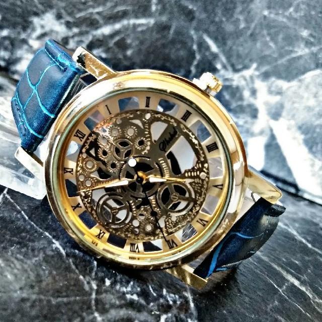 海外限定【ShshdBlueGold】 腕時計 ウォッチ ブルーレザーの通販 by さとこショップ|ラクマ