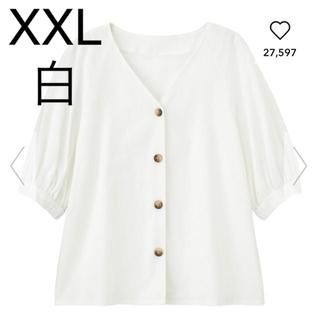 ジーユー(GU)の新品✩リネンブレンドフロントボタンブラウス 5分袖(シャツ/ブラウス(半袖/袖なし))