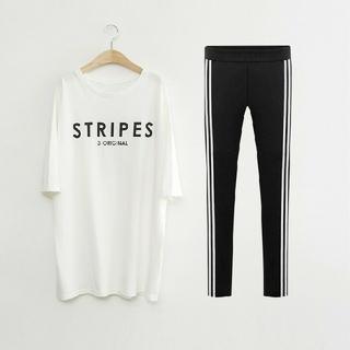5L 新品 半袖Tシャツ+レギンス 白 大きいサイズ カジュアルウェア スポーツ(Tシャツ(半袖/袖なし))