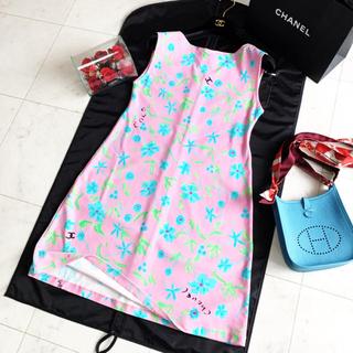 090d17dcba0f シャネル(CHANEL)の極美品 シャネル 花柄 ピンク マイヨ素材 ワンピース (