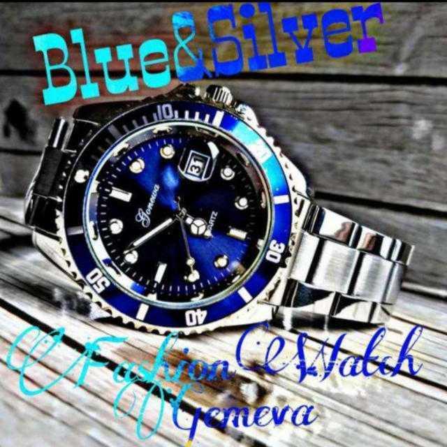 Gemeva 腕時計 メンズ ウォッチ オーシャンブルー シルバー ステンレスの通販 by レオさくら's shop|ラクマ