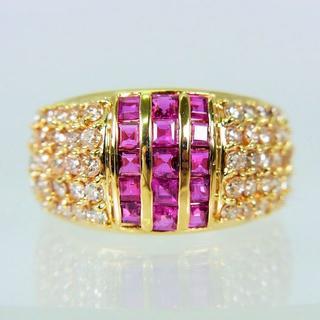 K18 ルビー ダイヤモンド リング 12.5号[f460-3(リング(指輪))
