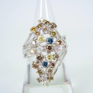 K18WG ファンシーカラーダイヤモンド リング 13.5号[f460-5](リング(指輪))