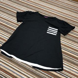 シマムラ(しまむら)のバックシフォン フレア半袖Tシャツ 160(Tシャツ/カットソー)