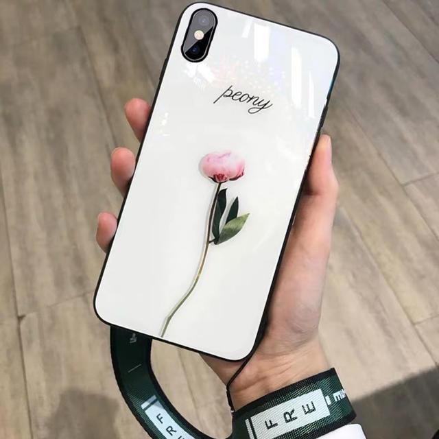 スマホケースiPhone XRケース牡丹軽量新品ストラップ付きの通販 by セリナ's shop|ラクマ