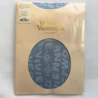 ヴィヴィアンウエストウッド(Vivienne Westwood)のヴィヴィアンロゴ柄タイツ/ブルーグレー/M-L/viviennewestwood(タイツ/ストッキング)