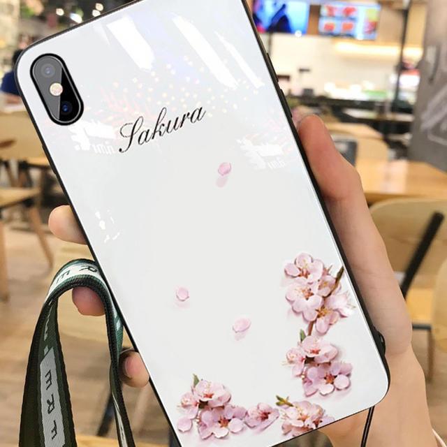 スマホケースiPhone XRケース桜軽量新品ストラップ付きの通販 by セリナ's shop|ラクマ