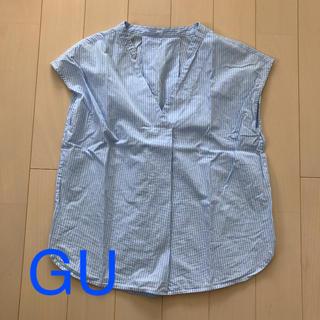 ジーユー(GU)のストライプノースリーブシャツS(シャツ/ブラウス(半袖/袖なし))