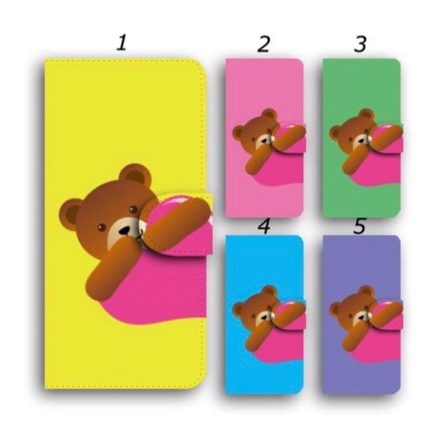 手帳型 iPhoneケース クマ スマホカバー ほぼ全機種対応 ハートの通販 by ララ 's shop|ラクマ