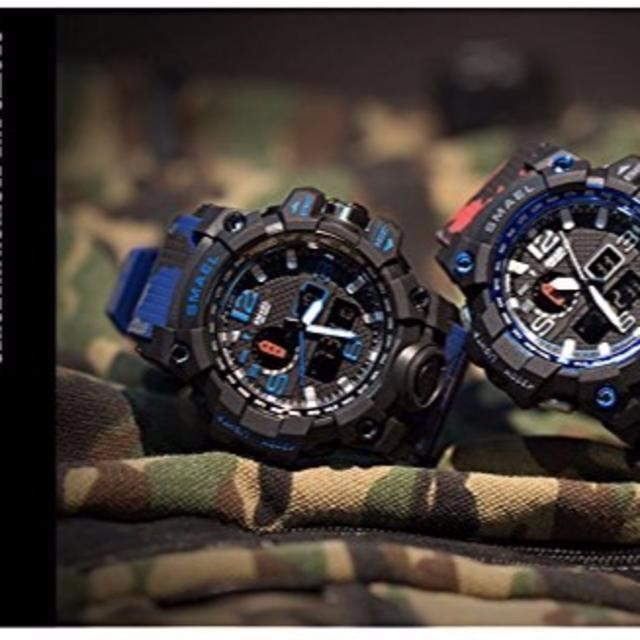 SMAEL ミリタリー 迷彩風 アナデジ 腕時計 青  の通販 by mia一's shop|ラクマ