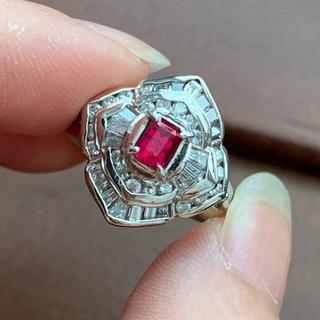 かりんとう様ご専用 Pt900 強ネオン! レッドベリルとダイヤモンドのリング(リング(指輪))