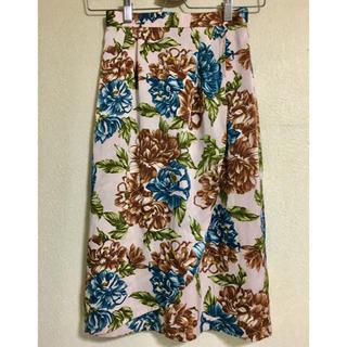 レトロ 大きな花柄タイトスカート(ひざ丈スカート)