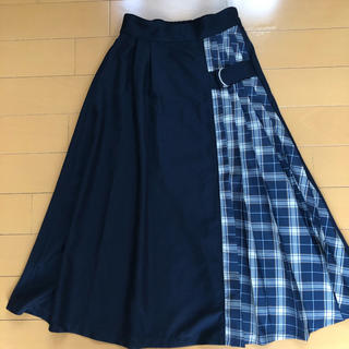 しまむら - しまむら プリーツスカート ウエストゴム Mサイズ 配色 ネイビーチェック