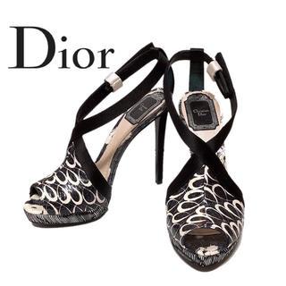 クリスチャンディオール(Christian Dior)の【新品】Christian Dior ディオール ロゴ入りピンヒール 黒 白(ハイヒール/パンプス)