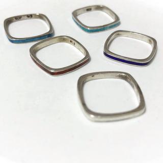 スクエア 925シルバー指輪5個セット(リング(指輪))