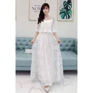 3L 新品 総レースロングワンピース 白 大きいサイズ シースルー ドレス 結婚(ロングドレス)
