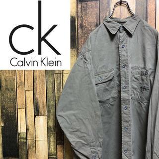 カルバンクライン(Calvin Klein)の【激レア】カルバンクライン☆刺繍ロゴ入りダブルポケットワークシャツ 90s(シャツ)