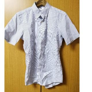 ユニクロ(UNIQLO)のユニクロ オンライン限定サイズ コットンブロードシャツ半袖 ブルー(シャツ)