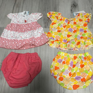 ニシマツヤ(西松屋)の新品《セットアップ》女の子 ベビー服 花柄 フルーツ ピンク 半袖 パンツ(その他)