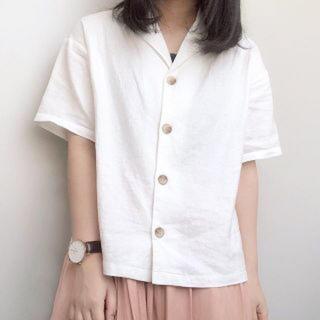 ジーユー(GU)の❤︎GU❤︎流行りの開襟リネンブレンドオープンカラーシャツ(シャツ/ブラウス(半袖/袖なし))