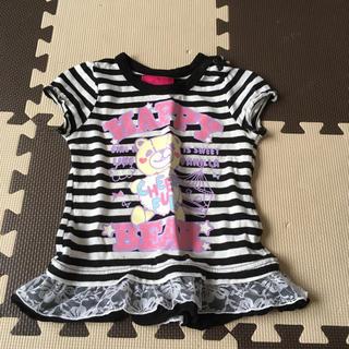 シマムラ(しまむら)のボーダーレースクマロゴプリントTシャツ90(Tシャツ/カットソー)