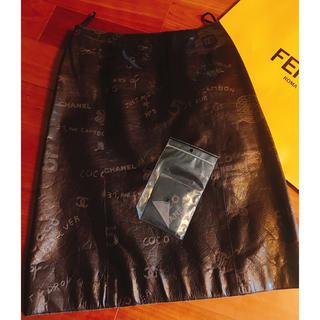シャネル(CHANEL)の新品同様 45万 CHANELレザースカート(ひざ丈スカート)