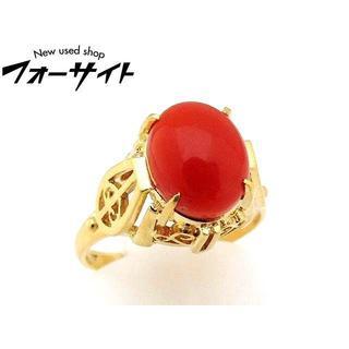 天然 赤珊瑚■K18 YG  リング 13号(リング(指輪))