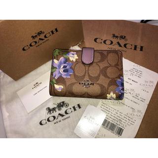 fc09247a7377 コーチ(COACH)の315コーチF73374二つ折り財布シグネチャーカーキxパープル紫花