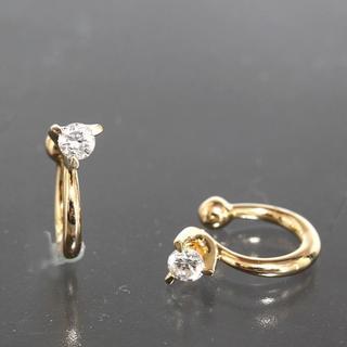 ヨンドシー(4℃)の4℃ ダイヤモンド ゴールド イヤーカフ イヤリング K18YG 新品仕上済 箱(イヤリング)