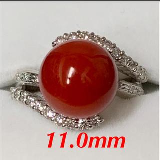❤️天然赤珊瑚❤️11mmダイヤリング0.45ct/Pt900❤️ソーティング付(リング(指輪))