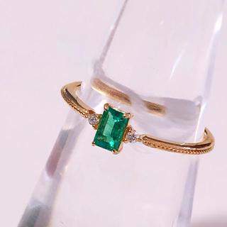 K18 天然エメラルド ダイヤモンド リング(リング(指輪))