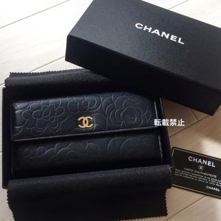 78600c209862 シャネル(CHANEL)のCHANEL 長財布 カメリア 黒 シャネル ラムスキン(財布)