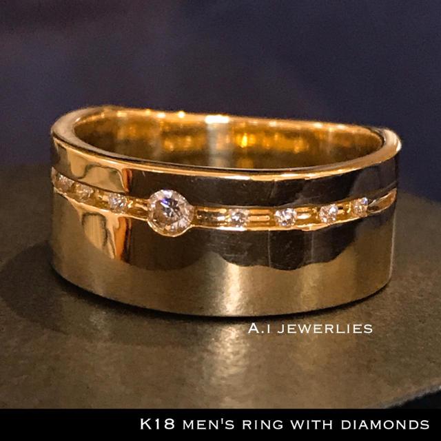 リング 18金 ダイヤ k18 天然 ダイヤモンド リング 幅広め メンズのアクセサリー(リング(指輪))の商品写真